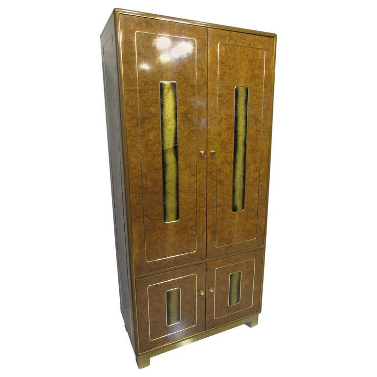 Burl / Brass Tall Chest or Armoire with Acid Etched Panels by Romweber For Sale
