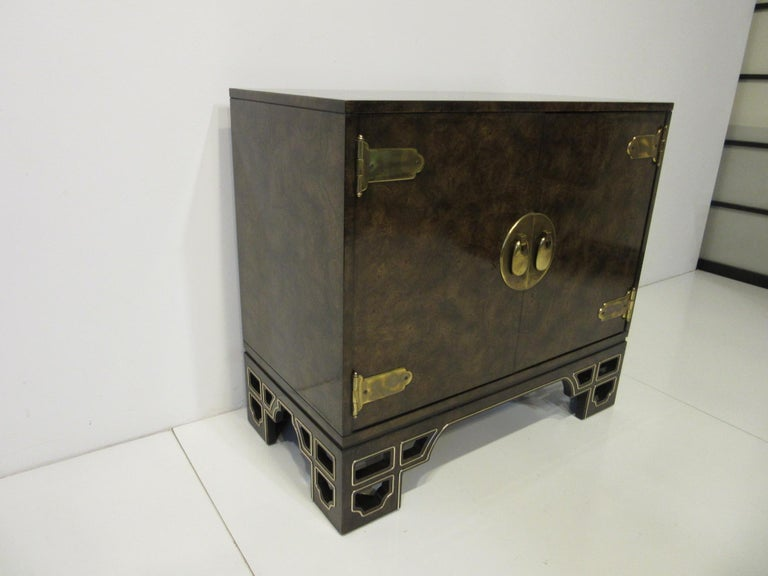 Mid-Century Modern Burl Cabinet with Brass by Bernhard Rohne for Mastercraft For Sale
