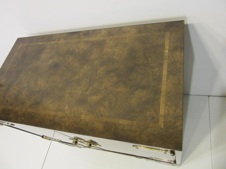 American Burl Cabinet with Brass by Bernhard Rohne for Mastercraft For Sale
