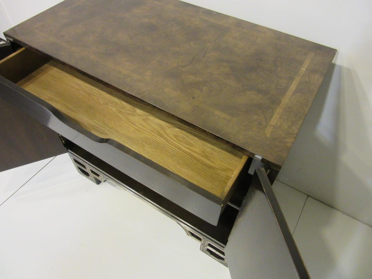 20th Century Burl Cabinet with Brass by Bernhard Rohne for Mastercraft For Sale