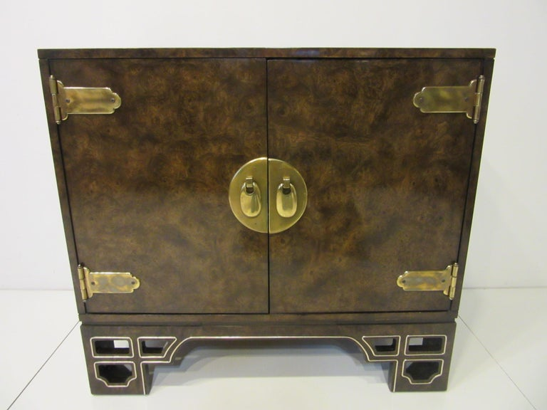 Wood Burl Cabinet with Brass by Bernhard Rohne for Mastercraft For Sale