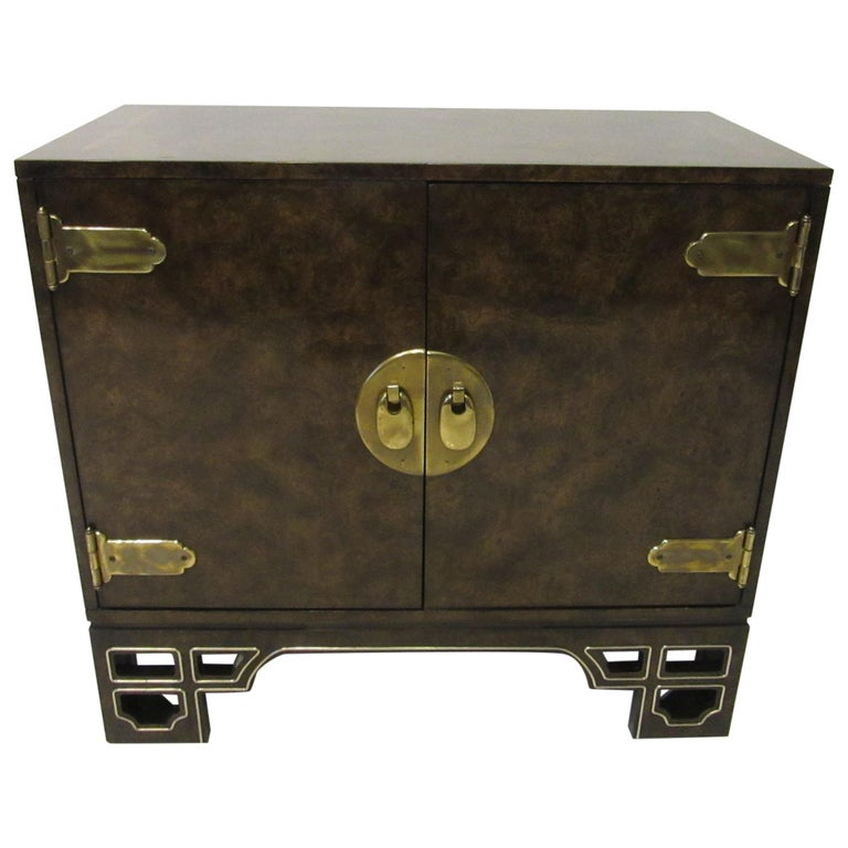 Burl Cabinet with Brass by Bernhard Rohne for Mastercraft For Sale