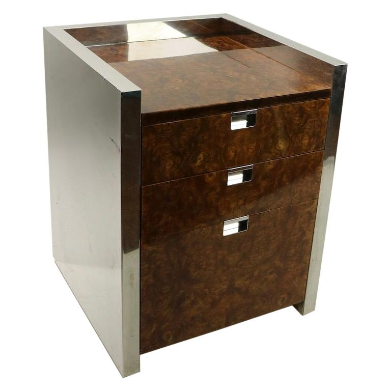 Burl Chrome Nightstand End Table Possibly Ello or Pace