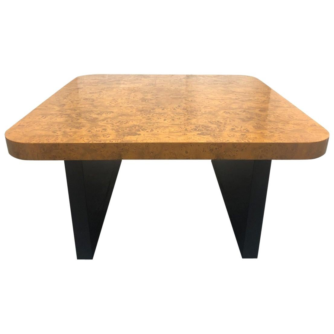 Burl Coffee Table with Lacquered Base
