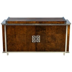 Burl Credenza Buffet with Polished Stainless Steel Accents