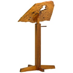 George Nakashima Adjustable Music Stand in Burl, Elm & Walnut, USA 1980