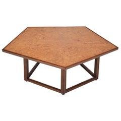 Burl Elm Pentagonal Coffee Table by Edward Wormley for Dunbar