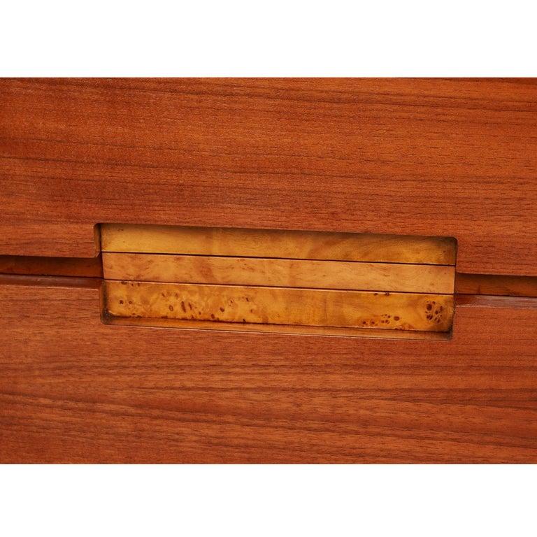 Mid-Century Modern Burl Inlay Walnut Dresser Credenza by Daniel Jones Inc. For Sale