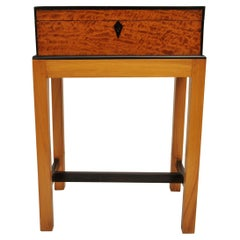 Burl Satinwood and Ebony British Campaign Officer's Box or Chest on Stand