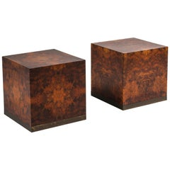 Burl Square Side Tables by Jean Claude Mahey