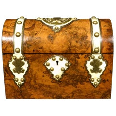 Burl Walnut and Brass Bound Document Box / Jewellery Casket, England Circa 1860