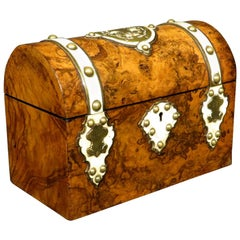 Burl Walnut and Brass Bound Document Box / Jewelry Casket, England, circa 1860