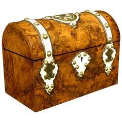 Burl Walnut and Brass Bound Document Box / Jewellery Casket, England Circa 1860