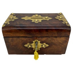 Burl Walnut and Brass Embellished Money Box, English, ca. 1860