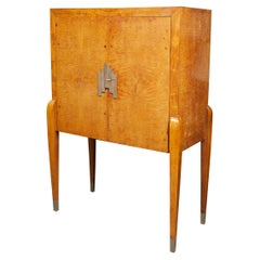 Burl Walnut Art Deco Bar Cabinet by Lucie Renaudot