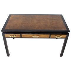 Burl Walnut Black Lacquer Ebonized Black Lacquer Frame Desk