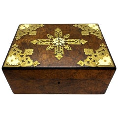 Burl Walnut Cigar Box Humidor with Brass Tracery, English, circa 1880