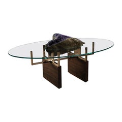 Burl Walnut Coffee Table with Inset Amethyst and Glass Top and Bronze Supports