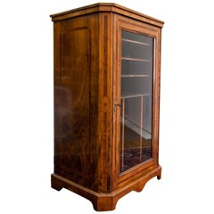Burl Walnut Glass Door Cabinet