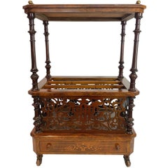 Burl Walnut Marquetry Inlaid Canterbury or Sheet Music Stand, English circa 1880
