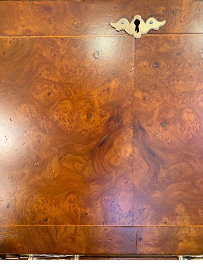 Burl Walnut Slim Secretary Desk by Baker Furniture For Sale 5