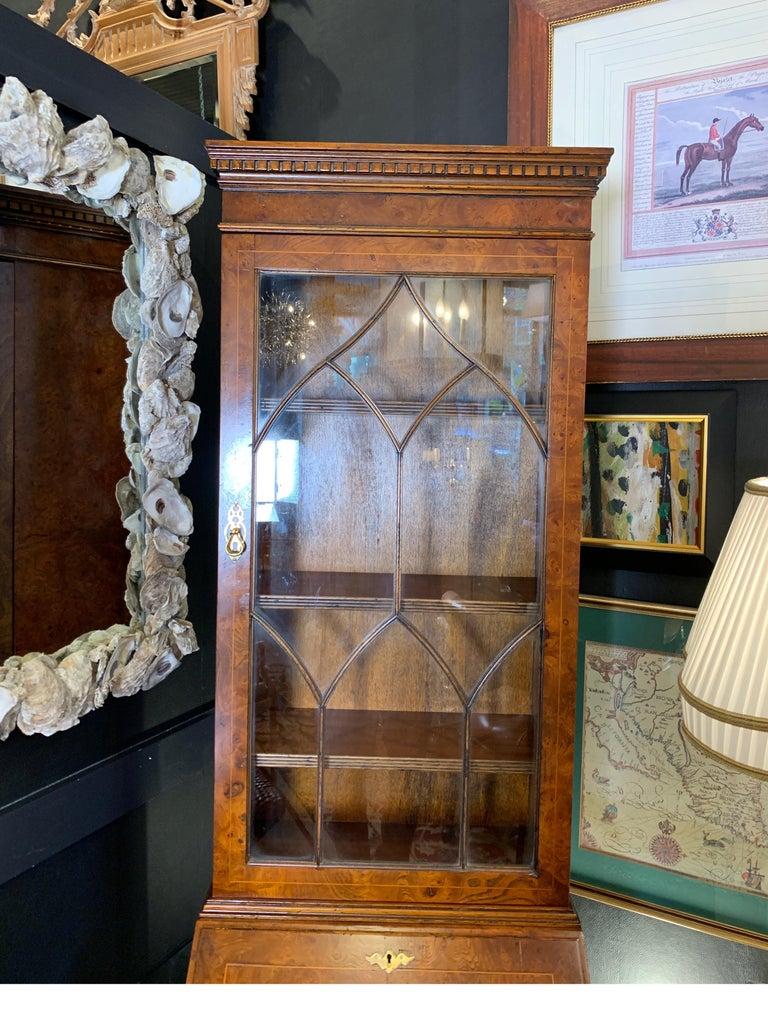 Chippendale Burl Walnut Slim Secretary Desk by Baker Furniture For Sale