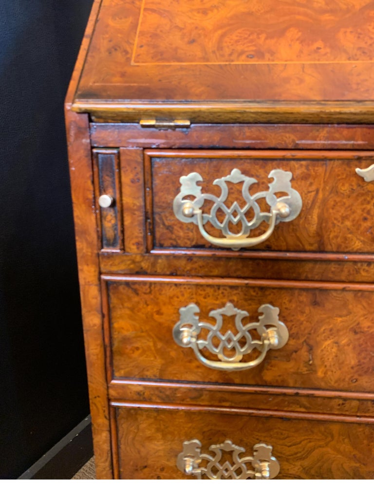 American Burl Walnut Slim Secretary Desk by Baker Furniture For Sale