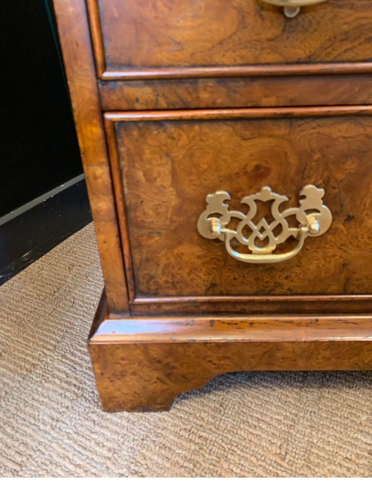 Burl Walnut Slim Secretary Desk by Baker Furniture In Good Condition For Sale In Lambertville, NJ