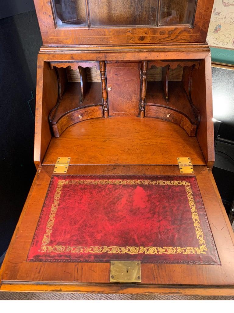 20th Century Burl Walnut Slim Secretary Desk by Baker Furniture For Sale