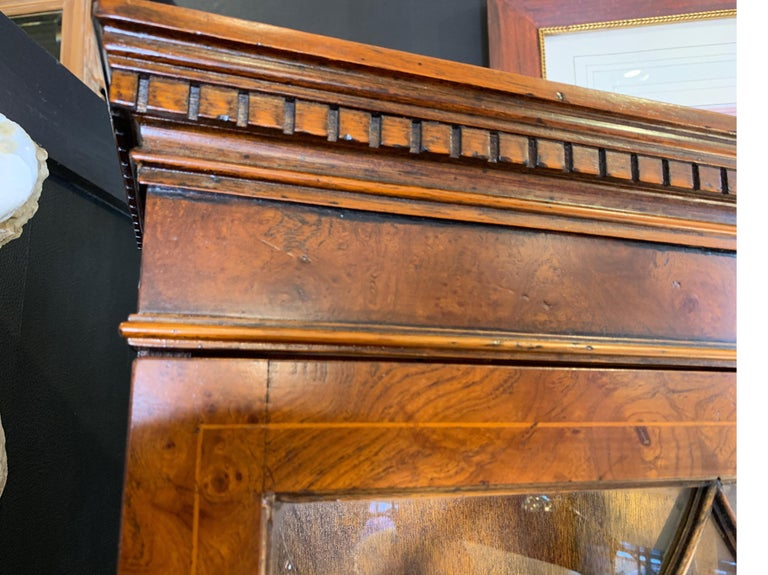 Burl Walnut Slim Secretary Desk by Baker Furniture For Sale 1