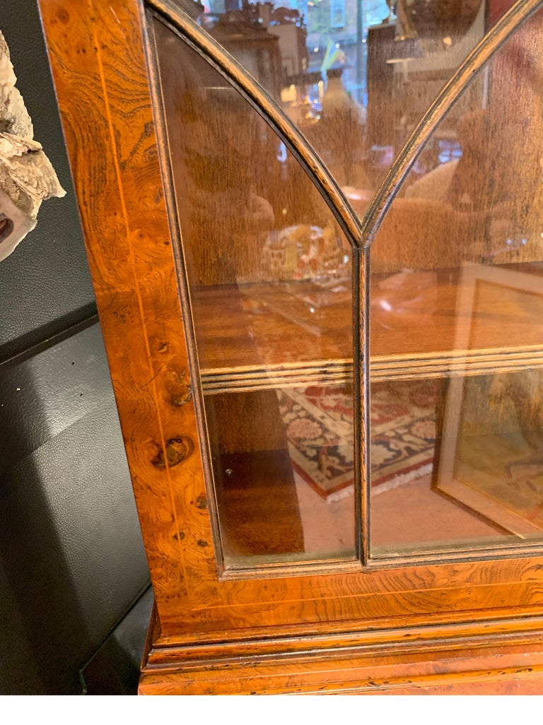 Burl Walnut Slim Secretary Desk by Baker Furniture For Sale 2