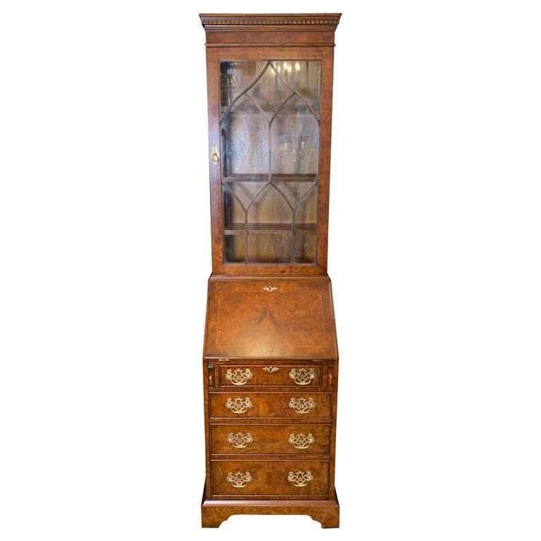 Burl Walnut Slim Secretary Desk by Baker Furniture For Sale
