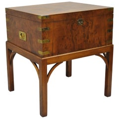 Burl Wood and Brass English Campaign Style Trunk Chest Box on Table Stand