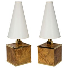 Burl Wood and Brass Lamps Attributed to Romeo Rega