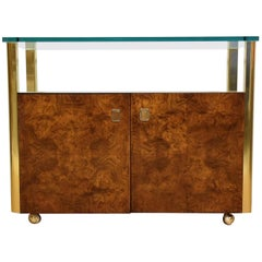 Burl Wood and Brass Server Dry Bar Cabinet or Sideboard by Century Furniture Co.