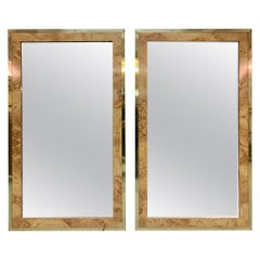 Burl Wood and Brass Wall Mirrors, a Pair
