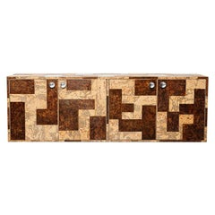 Burl Wood and Cork Floating Credenza