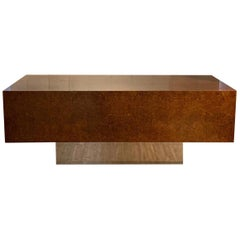 Burl Wood and Polished Steel Desk by Leon Rosen for Pace Collection, circa 1970