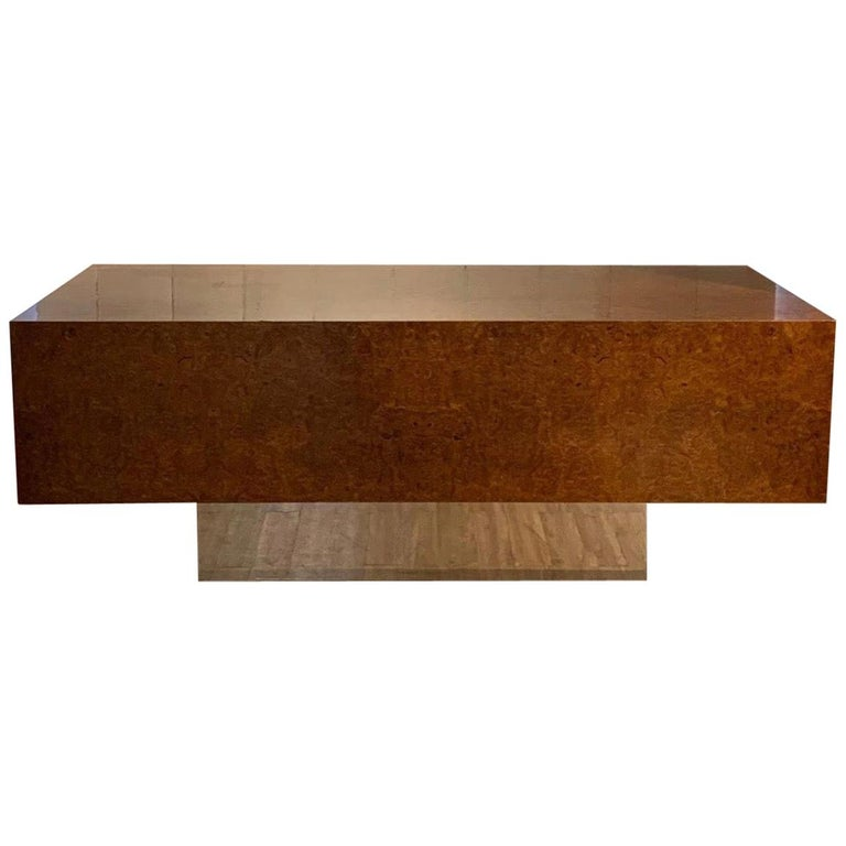 Burl Wood and Polished Steel Desk by Leon Rosen for Pace Collection, circa 1970 For Sale