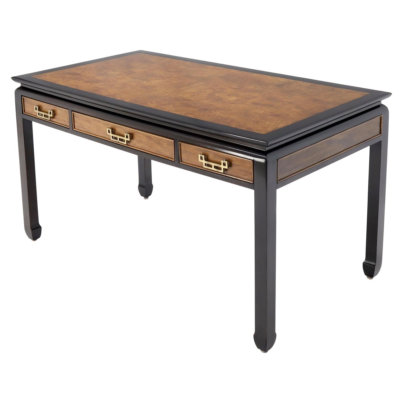 Burl Wood Black Lacquer Solid Brass Hardware Three-Drawer Desk Writing Table