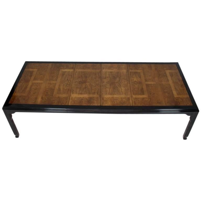 Wood Dining Table For Sale: Burl Wood Black Lacquer Two Leaves Dining Table For Sale