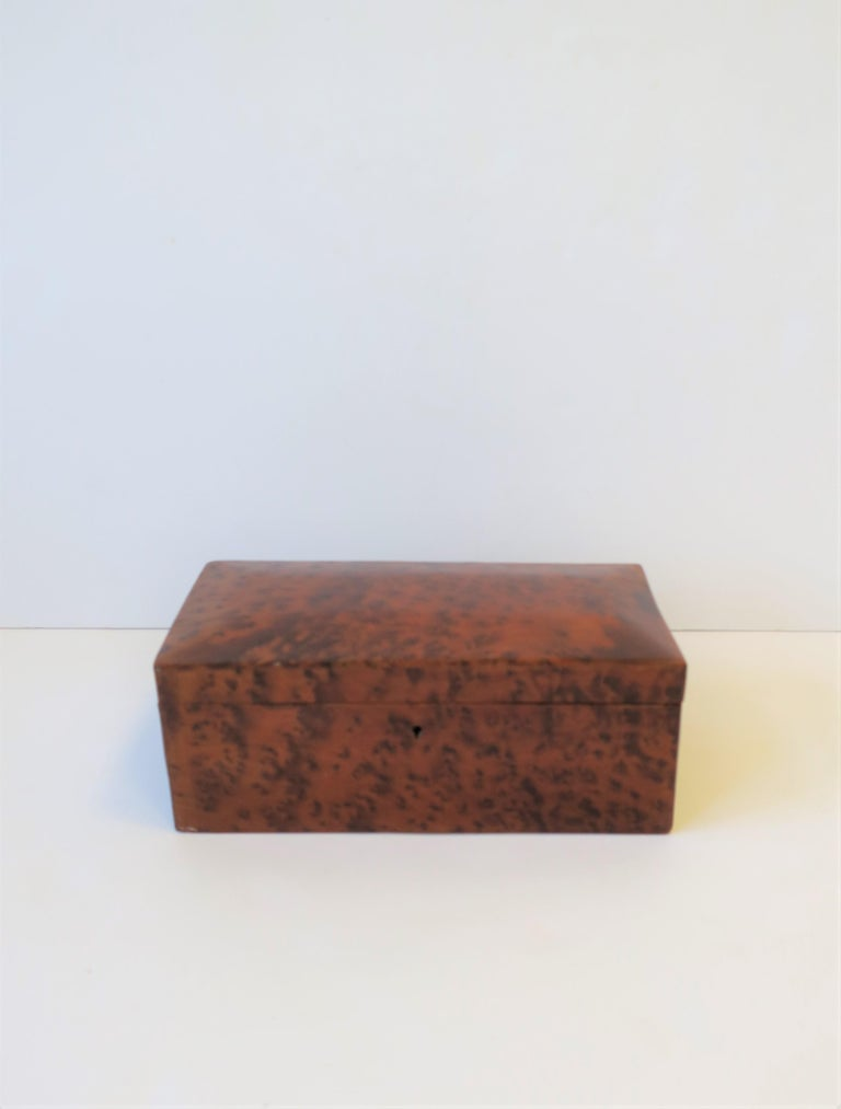 Minimalist Vintage Burl Wood Box For Sale