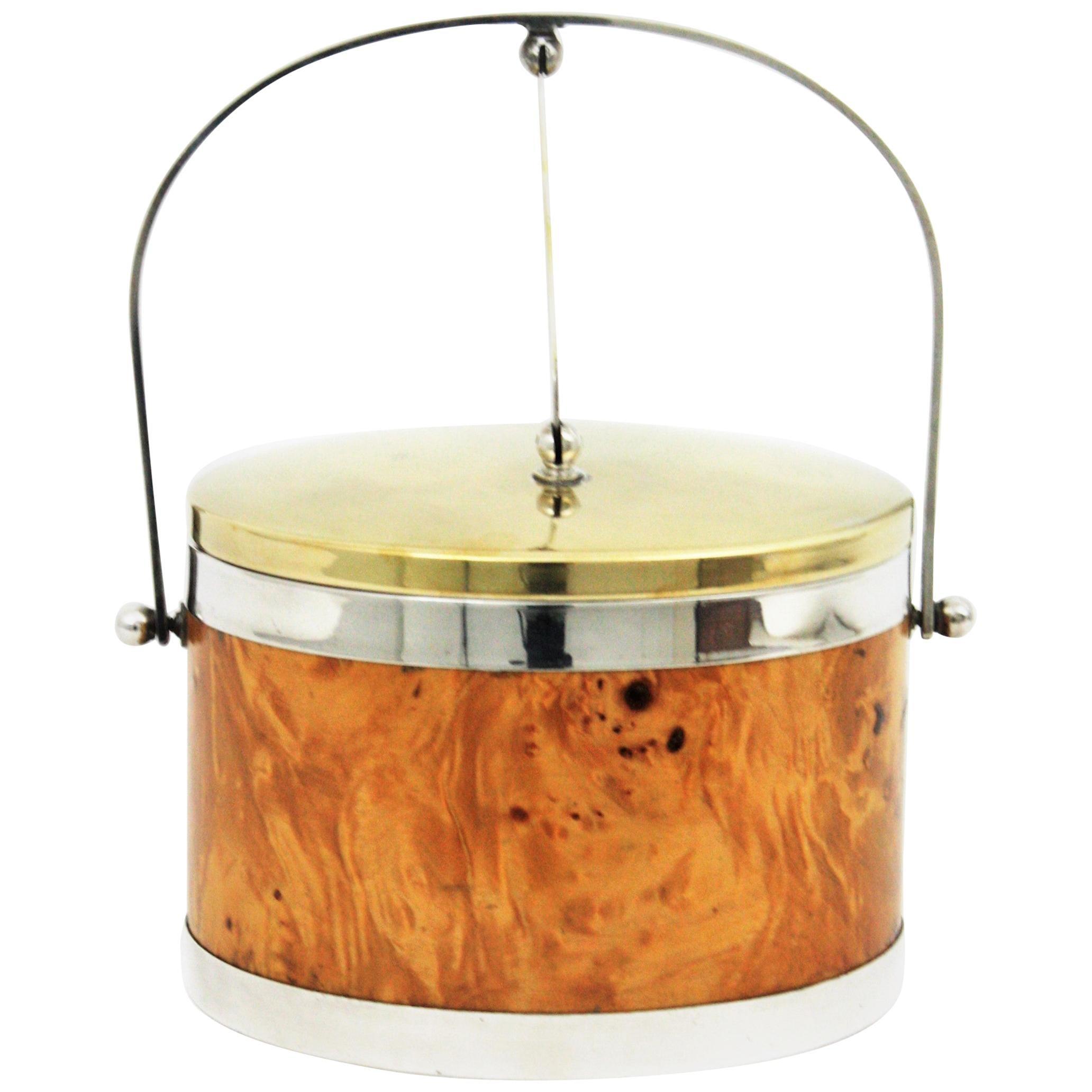 Burl Wood, Brass and Chrome Italian Ice Bucket, 1960s
