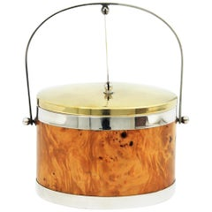 Burl Wood, Brass and Chrome Italian Ice Bucket, 1960s