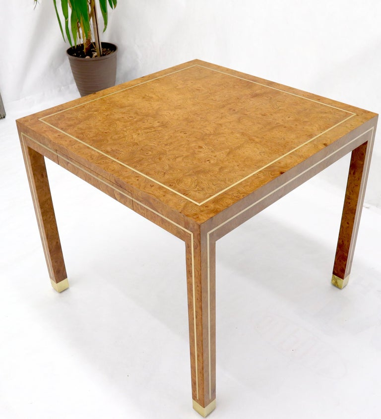 Mid-Century Modern burl wood brass inlay small square dining or game one-drawer table by Mastercraft.