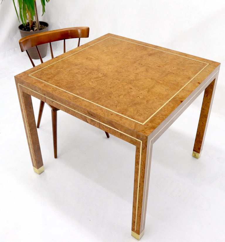 Mid-Century Modern Burl Wood Brass Inlay Game Dining Table by Mastercraft