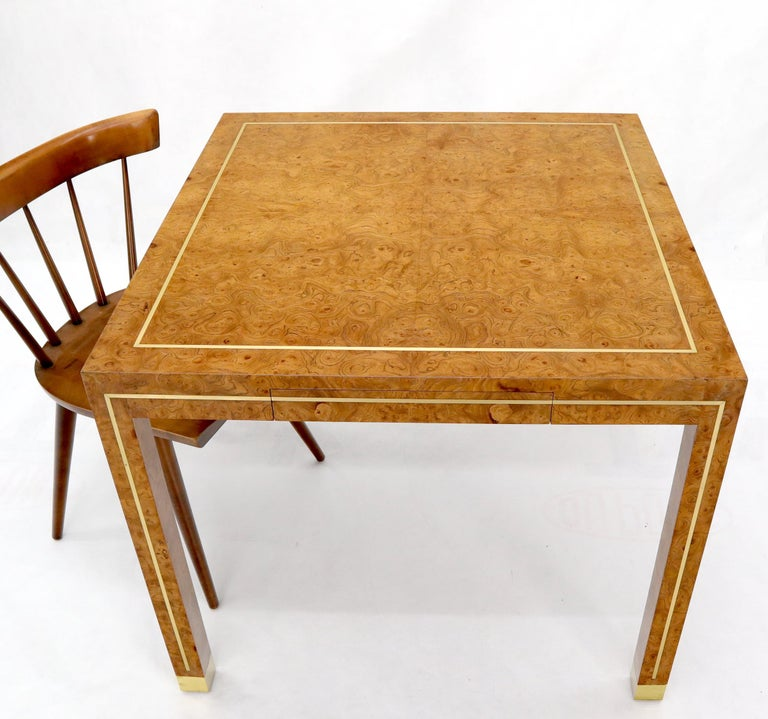 American Burl Wood Brass Inlay Game Dining Table by Mastercraft