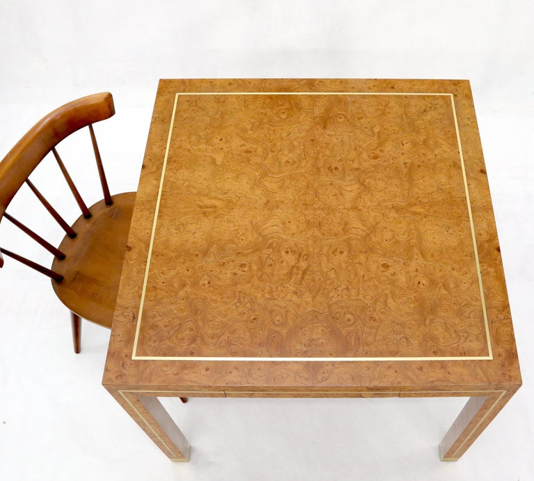 Burl Wood Brass Inlay Game Dining Table by Mastercraft In Good Condition In Rockaway, NJ