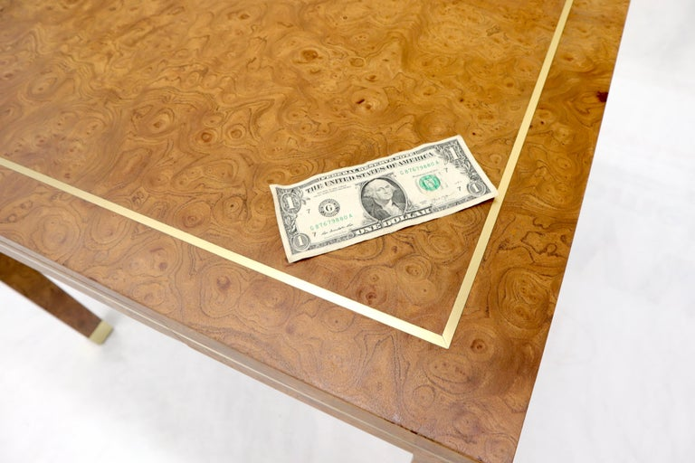 20th Century Burl Wood Brass Inlay Game Dining Table by Mastercraft