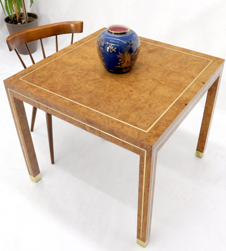 Burl Wood Brass Inlay Game Dining Table by Mastercraft 1
